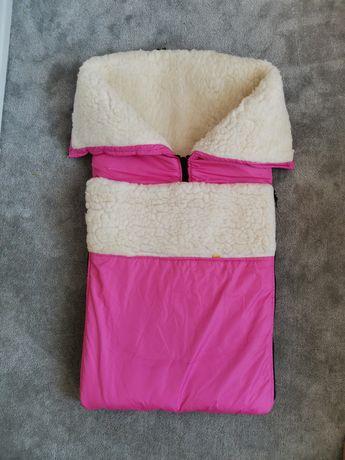 Зимний конверт на овчине для девочки в коляску kinder comfort розовый