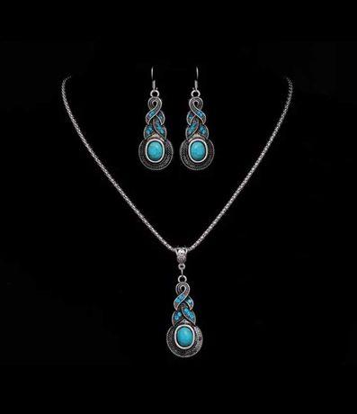 Komplet etnicznej biżuterii z turkusem