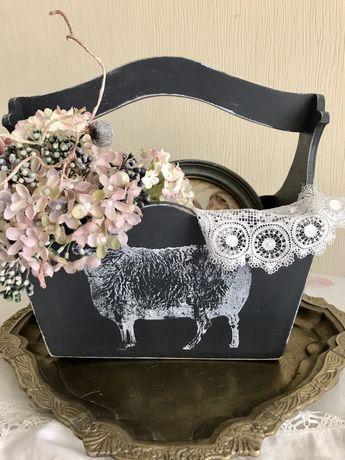 Корзинка для цветов,корзинка деревянная,корзина прованс,корзина