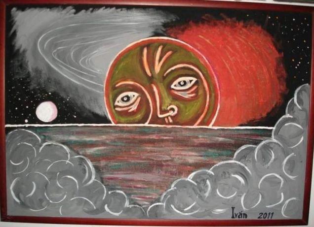 tela pintada a mao a lua