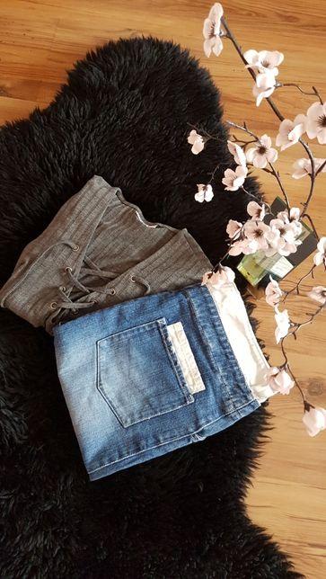 Cudny zestaw:)spódniczka dżinsowa NEW LOOK bluzeczka wiązana ONLY rozS