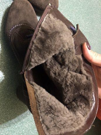 Итальянские зимние ботинки на каблуке