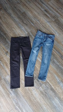 Jeansy H&M rozm. 134 skinny fit, 2 pary 8-9 lat