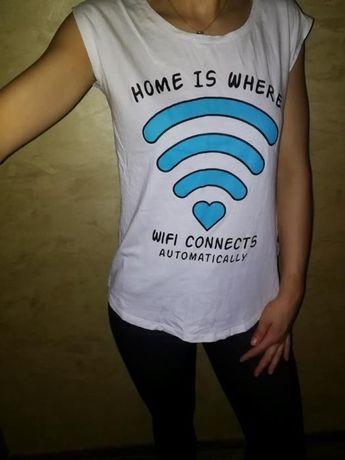 Biały t-shirt nadruk Wi-Fi