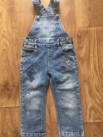 Полукомбинезон джинсовый Yuke, 86 размер