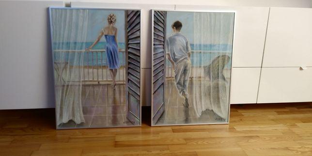 Dwa obrazy, pastele kobieta i mężczyzna na tarasie, komplet