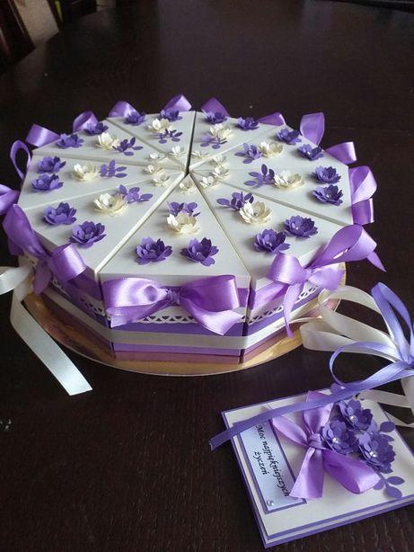 Tort z papieru, kartka na prezent -18, urodziny, ślub, podziękowanie