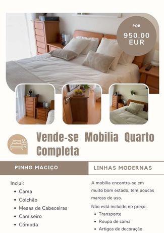 Mobilia de quarto, Completa, Linhas Modernas, Pinho Maciço