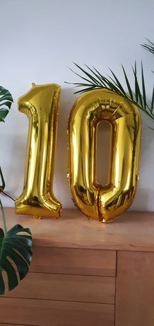 """Balon duży cyfra 1 0 """"10"""" złota wysokość 95cm"""