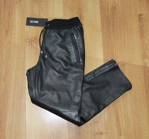 Skóra OWCZA ochnik skórzane czarne spodnie 36 s 34 xs motocykl pierre