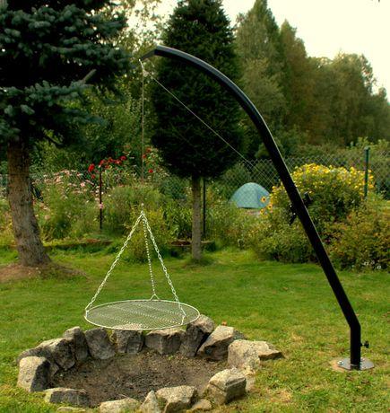 Grill z korbką nad ognisko, obrotowy, ruszt nierdzewny 70 cm
