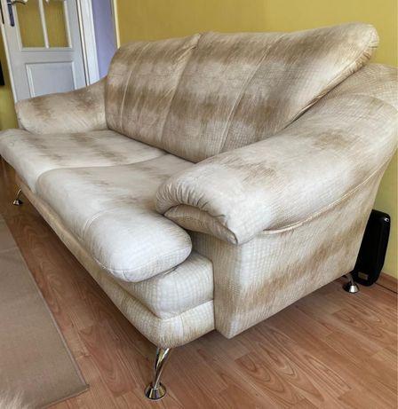 Komplet wypoczynkowy kanapa 3 osobowa i fotel jasny beż skóra węża