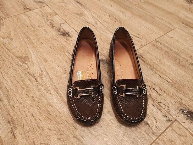 Skórzane trzewiki buty rozm 35