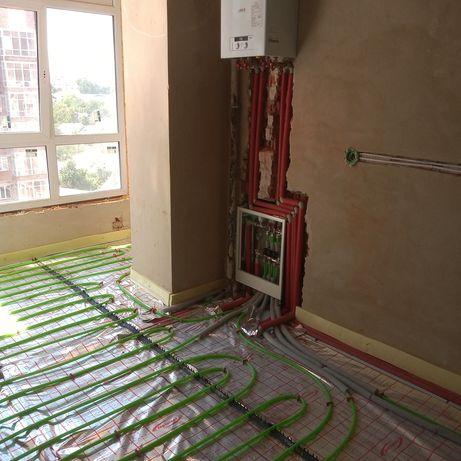 Монтаж опалення, водопостачання,тепла підлога, сантехнік