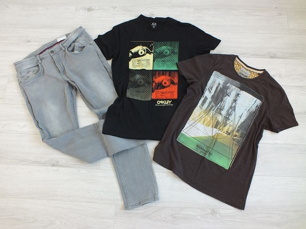 Zestaw męski jeansy + 2 koszulki - L/XL