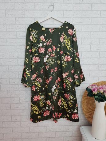 Khaki sukienka w kwiaty roz 48 4XL Asos nowa
