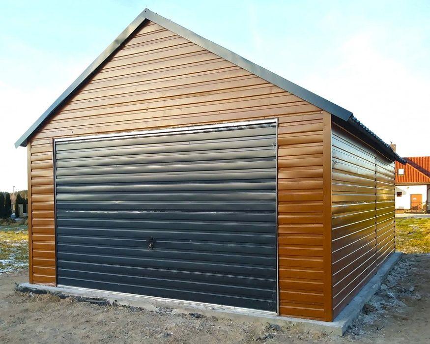 Garaż blaszany dwuspadowy poziomy trapez garaże 4,5x6 imitacja drewna Limanowa - image 1