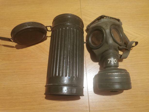 Niemiecka puszka na maskę gazową, maska gazowa