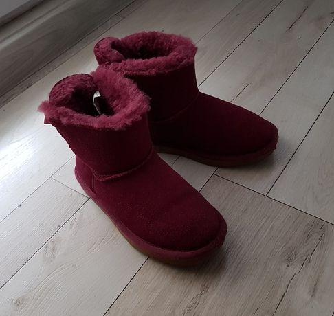 dziewczęce buty zimowe botki typu emu rozm 33 skóra zamszowa