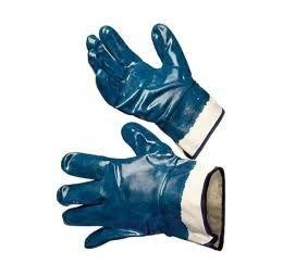 Перчатки масло бензо стойкие синие манжет крага