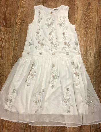 Белое платье двойное шифоновое с бисером River Island 12/152