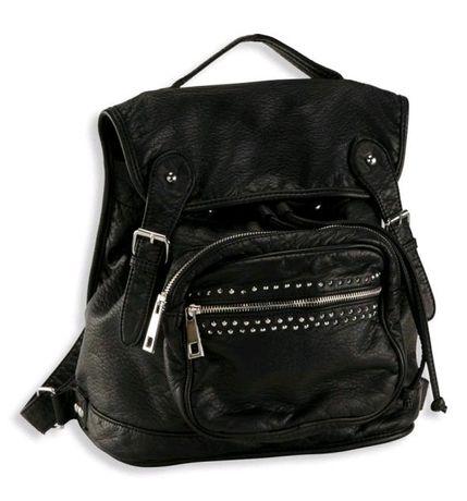 Czarny plecak C&A z nitami plecaczek nity ćwieki B5