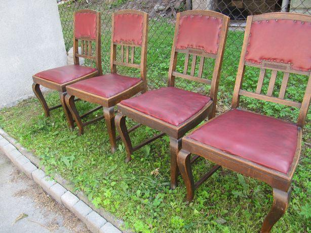 antyk /krzesła drewniane + skóra