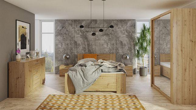 Meble do sypialni BALI I zestaw mebli kolory dąb łóżko szafa komoda