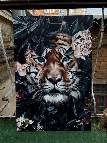 Картина тигр 60х90, масло