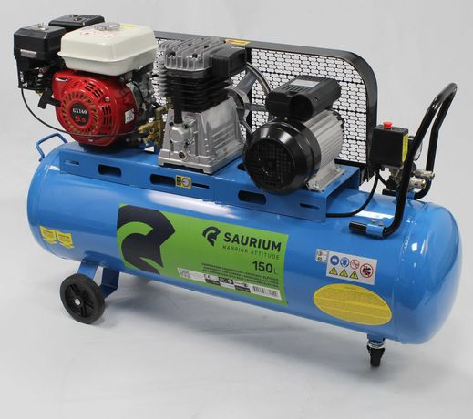 Compressor de Ar Gasolina + Elétrico 150L - 5.5HP