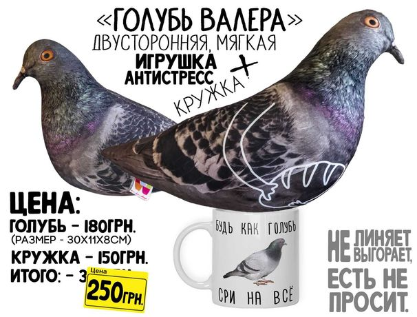 """Мягкая игрушка / антистресс голубь Валера + КРУЖКА """"Будь как голубь..."""