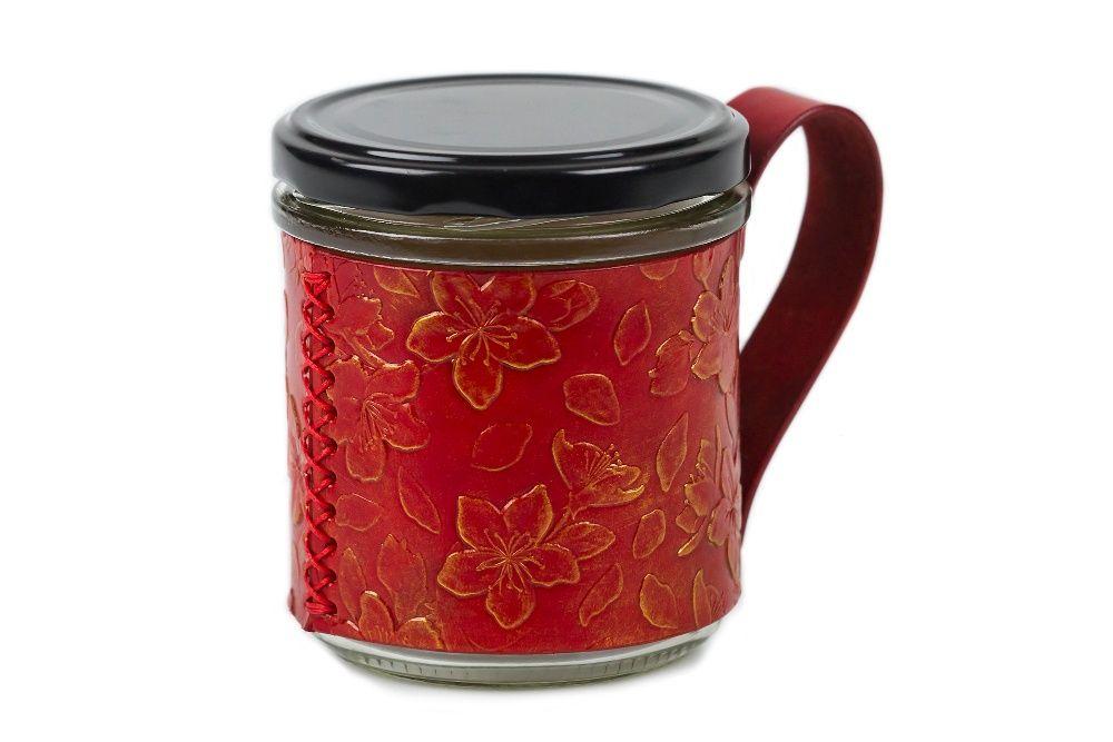 Kubek Kwiat Wiśni do kawy herbaty wykończenie skóra naturalna