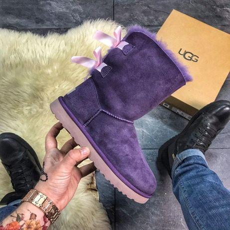 Сапоги с мехом Ugg Bailey Bow Leather Violet   зимние женские УГГИ