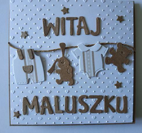 Kartka ręcznie robiona narodziny dziecka witaj gratulacje