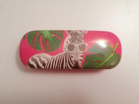 caixa de óculos rosa com zebra rígida NOVA portes incluidos