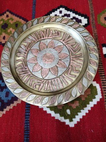 Piękny talerz dekoracyjny maroko mosiądz miedź cyna vintage