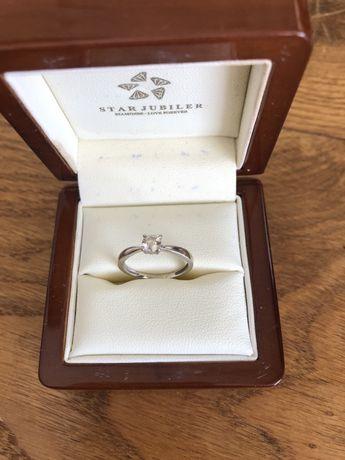Pierscionek z diamentem 0,33 ct biale złoto z certyfikatem rozmiar 11