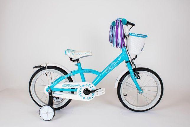 Rowerek rower dla dziewczynki Niebieski 16 cali ROSES + Prowadnik