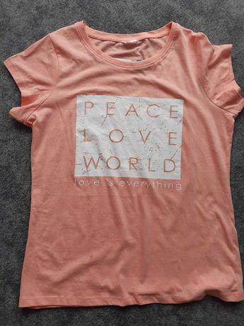 T-shirt bawełniany aplikacja nadruk koralowy brzoskwiniowy L XL