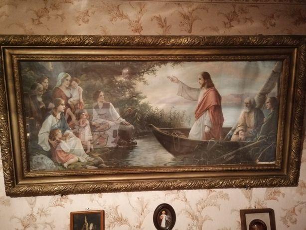 Obraz religijny, święty, stary, zabytkowy + drugi obraz Gratis!