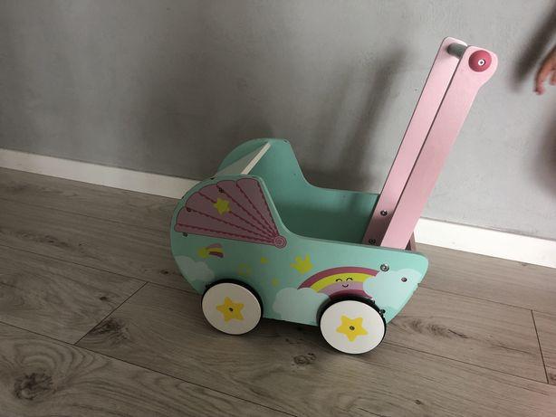 Wózek dla lalek drewniany elefun