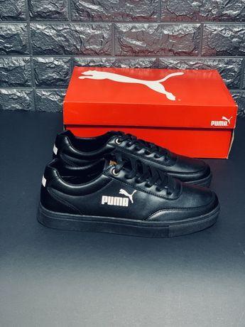 Кожаные мужские кроссовки Puma, кеды кросовки Пума Черные туфли Топ!