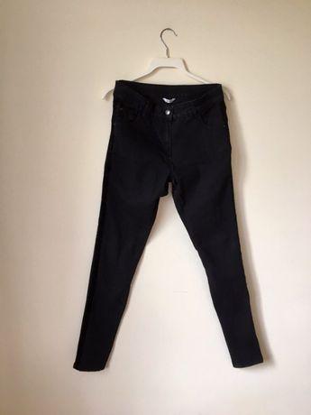 Czarne spodnie rurki z zamszowymi wstawkami lampasami 38 M