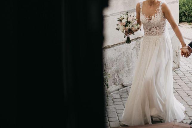 Suknia ślubna rozmiar 34/36 koronka + muślin