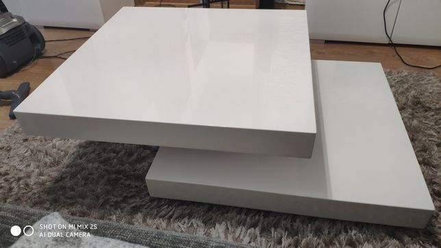 Ława stolik kawowy lakierowany Falon Signal obracana biała