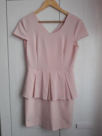 Różowa sukienka z baskinką, szyta na rozmiar XS