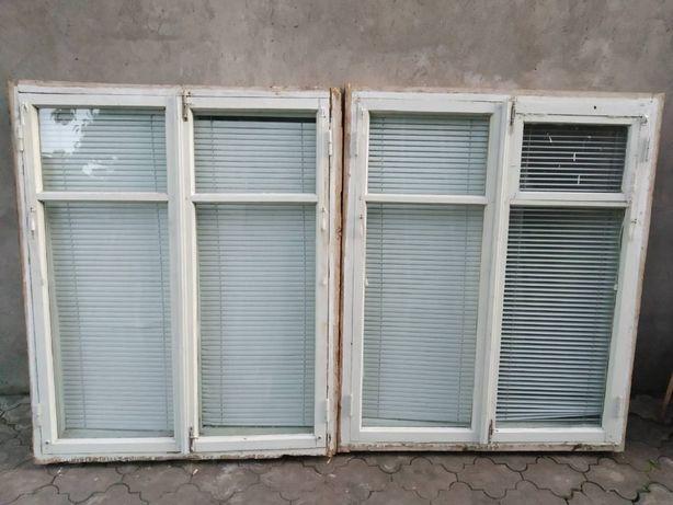 Деревяное окно с жалюзями, деревяне вікно 123х150см