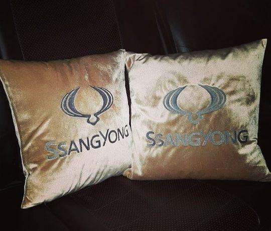 Авто подушки. Подушки с логотипом. Вышивка на авто подушке.
