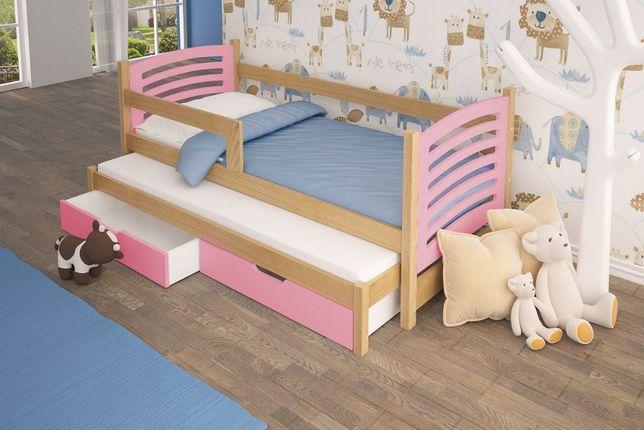 Łóżko dla dwójki dzieci OLEK z barierką + materace GRATIS