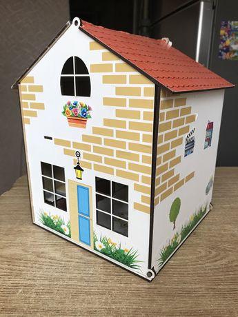 Домик деревянный с мебелью для кукол